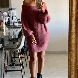 Express Cozy Chenille Off the Shoulder Shift Dress